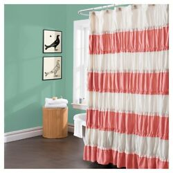 Lush Decor Isla Shower Curtain Coral White