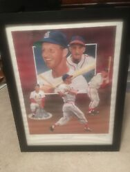 Stan Musial Signed Paluso Print 265/475 Also Signed By Artist Custom Frame