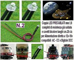 N.2 Led Micro 12v And 18v Mm.1,8 White For Lights Locomotives Dc And Dcc Scale N And