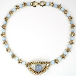 Mazer Gold Pave Blue Moonstone 'Jewels of Fantasy' Eye and Lashes Necklace