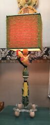 OVER THE TOP DESIGNER  CHICKENROOSTER LAMP  EGG CRATE SHADE & SPOOL FINIAL!