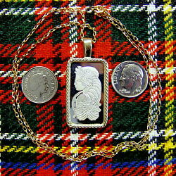 9ct Gold New Bullion Bar Lady Luck Pendant And Chain With 10g Fine Silver Ingot