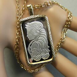 9ct Gold New Bullion Bar Lady Luck Pendant And Chain With 20g Fine Silver Ingot