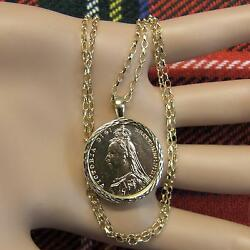Genuine Victorian Full Sovereign In New 18ct Mount And Chain