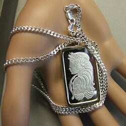 9ct Gold New Lady Luck Pendant With 20g Fine Silver Bullion Bar Ingot And Chain