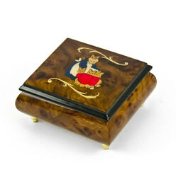 Handcrafted 18 Note Wood Tone Beatrix Potter Music Box With Momma W/babies Inlay