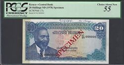 Kenya 20 Shillings Nd1978 P17s Specimen About Uncirculated
