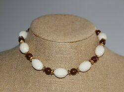 Miriam Haskell Cream White, Chocolate Brown, Gold Lucite Plastic Beaded Necklace