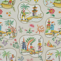 Clarence House Exclusive Chinoiserie Pagodas Toile Linen Fabric 10 Yards Cream