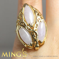 Vintage Ming's Lavender Jade Marquise 14k Yellow Gold 32mm Face Ring Size 7