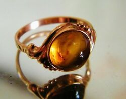 Vintage Russian Soviet Ussr Jewelry Ring Gold 14k 585 S 18 Amber ⭐️ Soviet Stamp