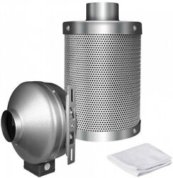 IPower 4 Inch 190 CFM Duct Inline Fan With 4 Inch Carbon Filter For Grow Tent