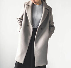 Nwt Uniqlo Double Breasted Oversized Lightweight Wool Blend Tailored Coat Grey
