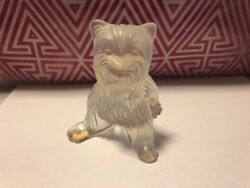 LALIQUE FRANCE Crystal Dog Yorkie Figurine Signed Yorkshire Terrier Frost Sit