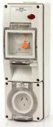 Iso Socket With Rcd 500v 4-pin Round Surface Mount Resistant Orange-10a Or 20a