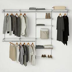 Configurations Custom Closet Deluxe Kit Organizer Storage Rack White 4-8 Foot