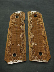 Walnut Floral Border 1911 Grips Checkered Engraved Textured