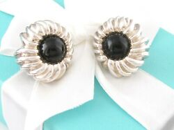 And Co Silver Onyx Nature Flower Gemstone Clip On Earrings Box Included