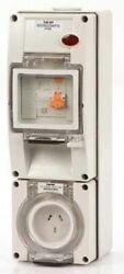 Iso Socket With Rcd 500v 4-pin Round Surface Mount Grey- 32a Or 40a