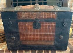"""Antique Dome Top Metal And Wood Steamer Trunk 19"""" Tall X 28"""" Long X 16"""" Wide"""