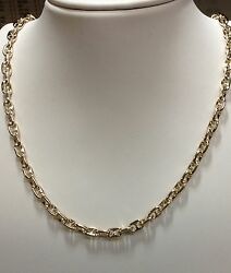 14k Solid Yellow Gold Anchor Mariner Chain Necklace 4.5mm 43 Grams 28