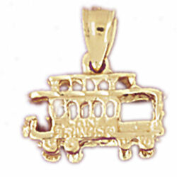 New Real Solid 14k Gold 3d Cable Car Trolley Charm