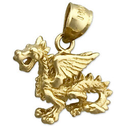 New Real Solid 14k Gold 3d Mythical Winged Dragon Charm