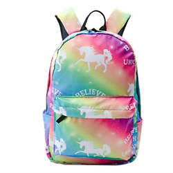 Unicorn School Travel Backpack for Teen Boys Girls Colorful Rainbow Shoulder Bag