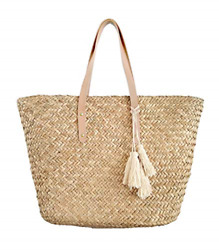 Straw Beach Tote Shoulder Bag Womens Large - Washable Lining Leather handle