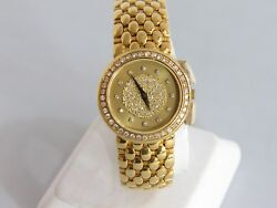 CONCORD VINTAGE LADIES 18KT GOLD WATCH WITH DIAMOND DIAL & BEZEL