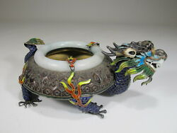 Antique Chinese Export Silver, Jade And Enamel Ashtray Cs17