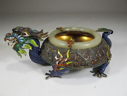 Antique Chinese Export Silver, Jade And Enamel Ashtray Cs72