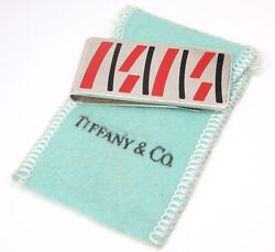 Rare Vintage And Co Sterling Silver Red Black Enamel Money Clip W/pouch