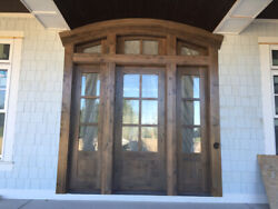 6 Lite Craftsman Knotty Alder Entry Door Unit with Sidelites and Arched Transom