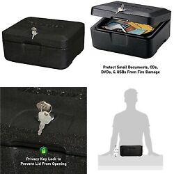 Small Fire Resistant Chest Fireproof Box with Key Lock Black Safety Privacy Case