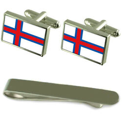 The Faröes Flag Silver Cufflinks Tie Clip Engraved Gift Set