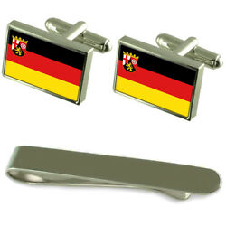 Rhineland-palatinate State And Civil Flag Silver Cufflinks Tie Clip Engraved