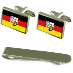 Saarland State And Civil Flag Silver Cufflinks Tie Clip Engraved Gift Set