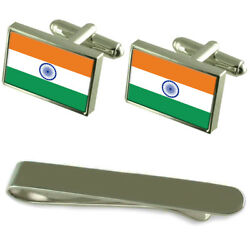 India Flag Silver Cufflinks Tie Clip Engraved Gift Set