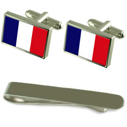 French Guiana Flag Silver Cufflinks Tie Clip Engraved Gift Set