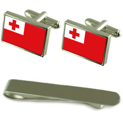 Tonga Flag Silver Cufflinks Tie Clip Engraved Gift Set