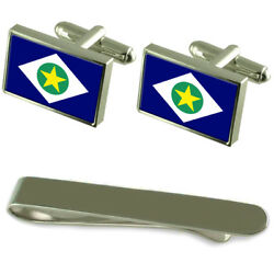 Mato Grosso Flag Silver Cufflinks Tie Clip Engraved Gift Set