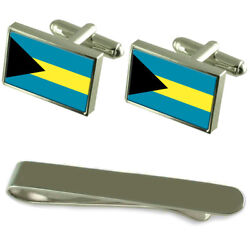 The Bahamas Flag Silver Cufflinks Tie Clip Engraved Gift Set