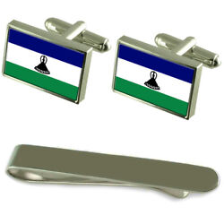Lesotho Flag Silver Cufflinks Tie Clip Engraved Gift Set