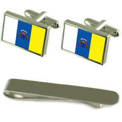 Canary Islands Flag Silver Cufflinks Tie Clip Engraved Gift Set