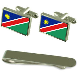 Namibia Flag Silver Cufflinks Tie Clip Engraved Gift Set