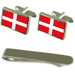 Sovereign Military Order Of Malta Flag Silver Cufflinks Tie Clip Engraved