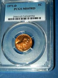 1971-d 1c Rd Lincoln Memorial Cent-pcgs Ms65rd--365-1
