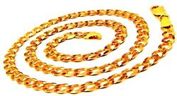 22k Yellow Gold Curb Chain Link Chain Handmade Women Jewelry For Motherand039s Day
