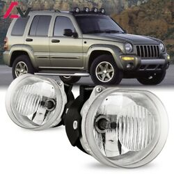 For Jeep Liberty 02-04 Clear Lens Pair Bumper Fog Light Lamp Replacement